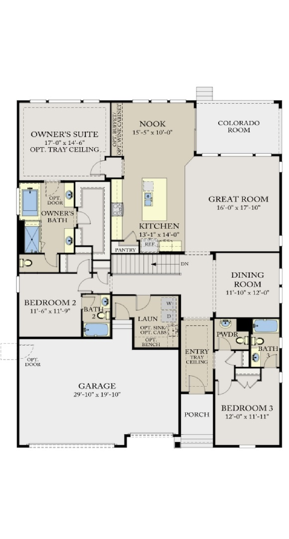 Residence 5A02 main level, a Beautiful Colorado Model New Home by CalAtlantic