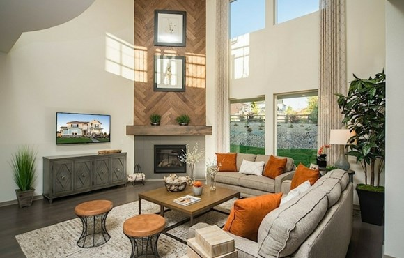 Great Room of a New Home by David Weekley Homes in Parker Colorado area