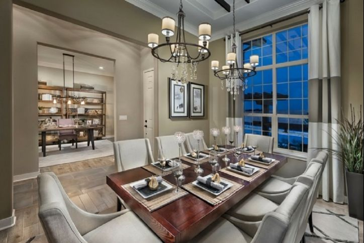 Toll Brothers model home dining room at Inspiration community Parker CO