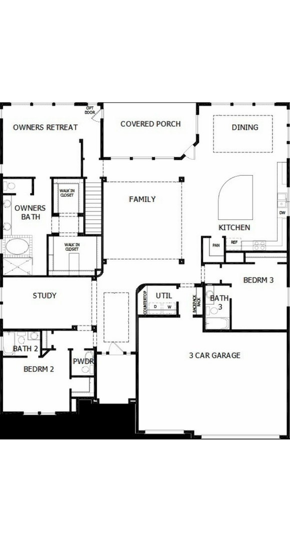 New home main level floorplan at 8575 S. Zante Ct by David Weekley