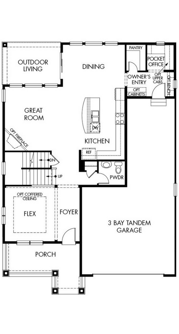 New home main level floorplan at 8800 S. Duquesne Ct by Meritage in Inspiration