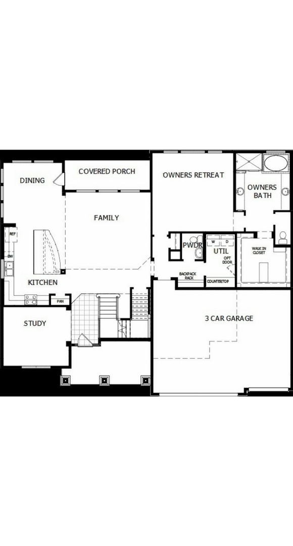 New home main level floorplan at 8605 S. Zante Ct by David Weekley