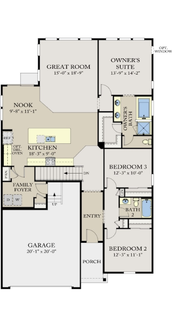 New home main level plan at 23595 E. Del Norte Pl by CalAtlantic | Inspiration Colorado