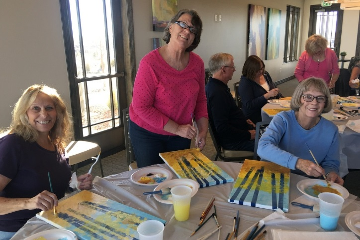 Cocoa and Canvas at Hilltop Club 55 plus Inspiration community