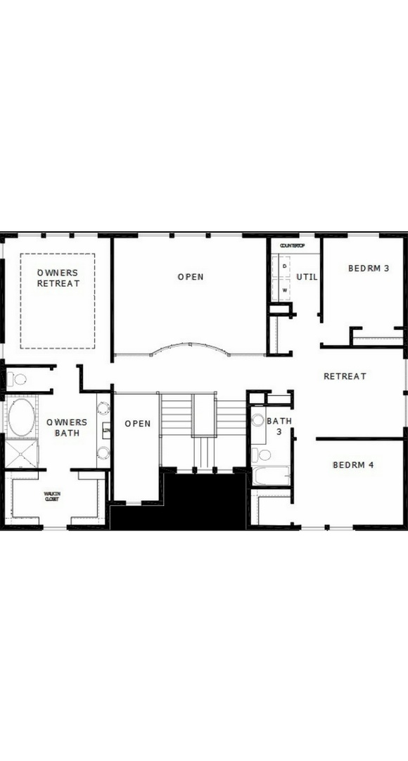 New home second level plan at 23210 E. Rockinghorse Pkwy by David Weekley | Inspiration Colorado