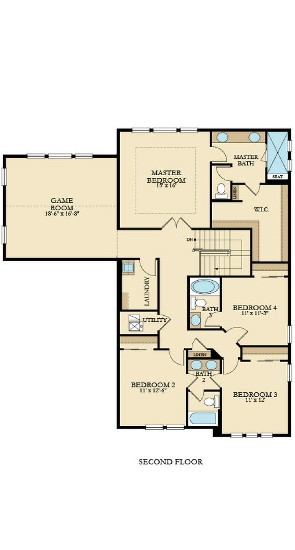 New home second level plan at 8768 S. Zante St by Lennar | Inspiration Colorado