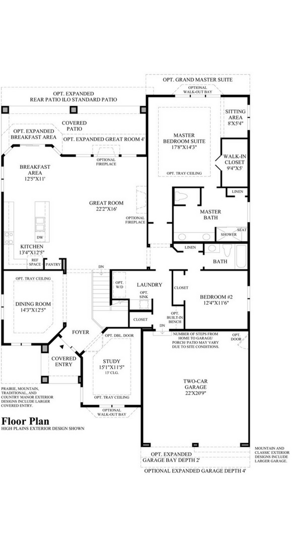 New home main level plan at 8500 S Tibet Ct by Toll Brothers (55+) | Inspiration Colorado