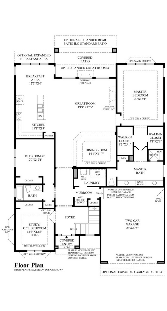 New home main level plan at 22703 E. Glidden Dr by Toll Brothers (55+) | Inspiration Colorado