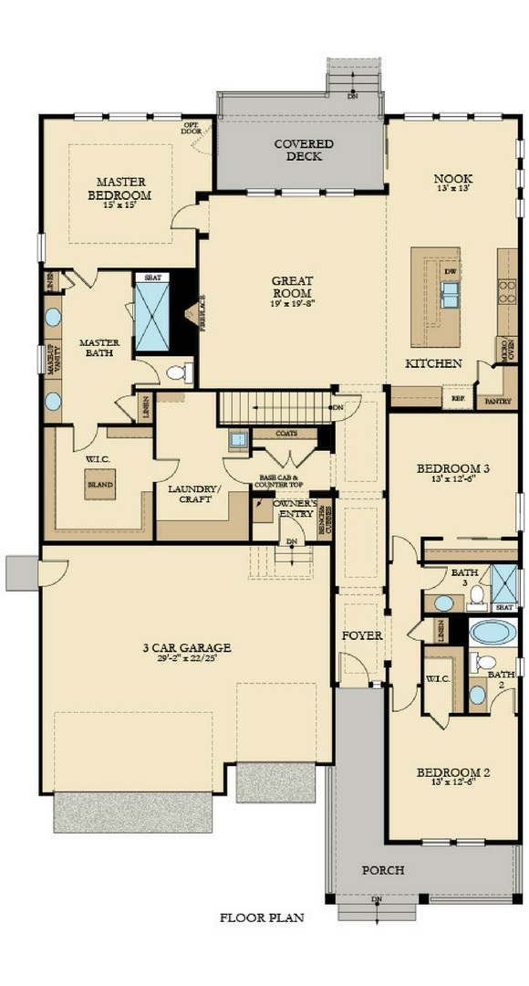 New home main level plan at 8784 S. Winnipeg Ct by Lennar | Inspiration Colorado