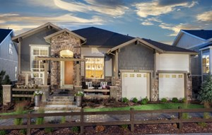 New home exterior at Inspiration master-planned community near Parker Colorado
