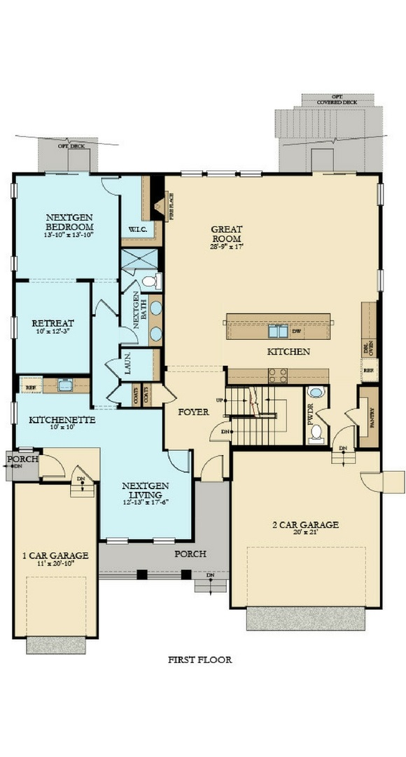 New home main level plan at 23094 E. Narrowleaf Dr by Lennar | Inspiration Colorado