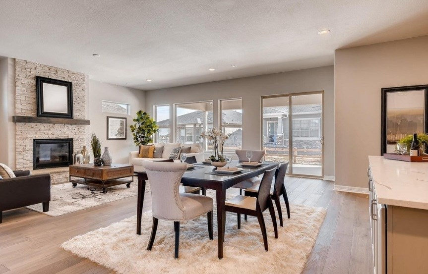 New home great room at 8620 S. Sicily Ct by Toll Brothers | Inspiration CO