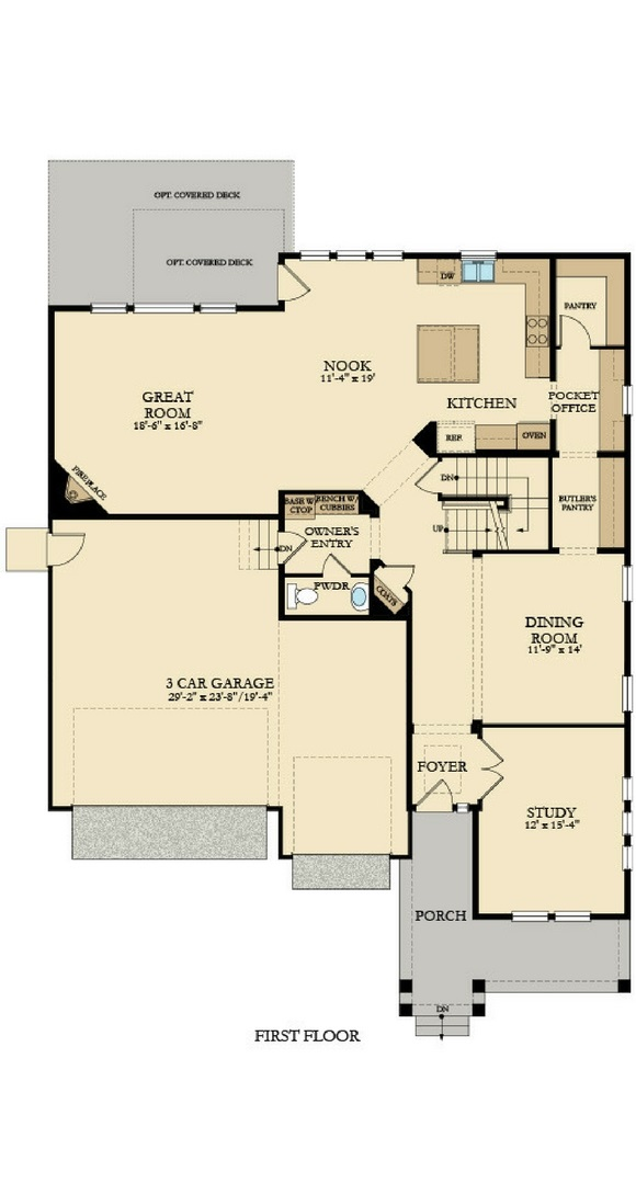 New home main level plan at 8773 S. Winnipeg Ct by Lennar | Inspiration Colorado