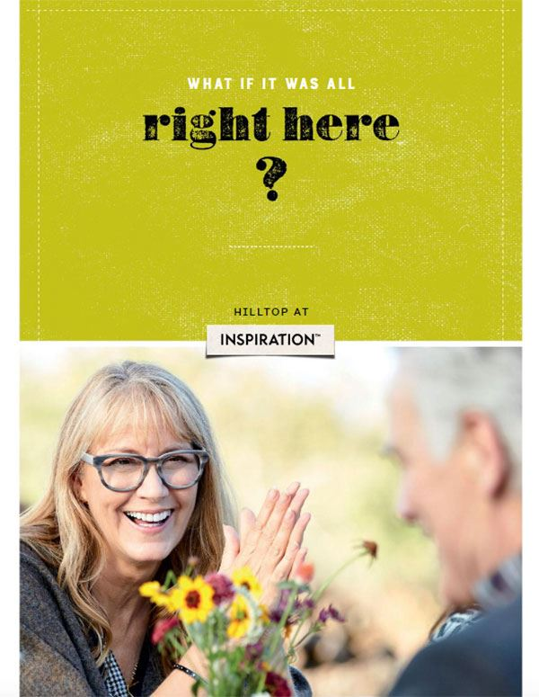 what if it was all right here Inspiration community brochure with elderly woman talking happily to elderly man across the table.